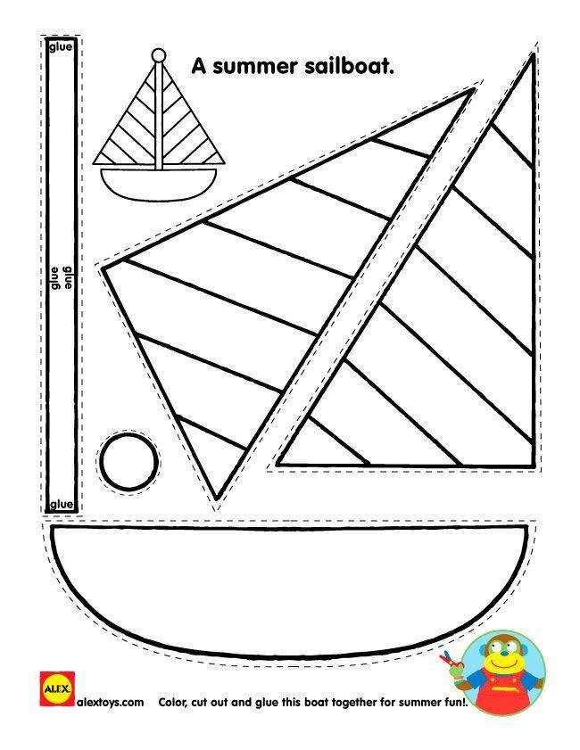 Coloring Pages Printable, Sailboat Shape Kids Printable