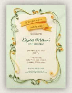 Printable vintage quilled invitation for parties by cecelia louie via behance also rh pinterest