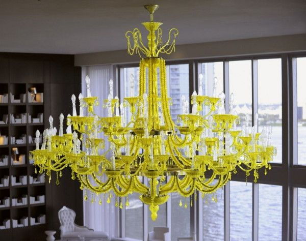 Bold Decor Idea Yellow Chandelier Against Black Walls And White Floors