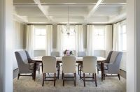 A stunning white coffered ceiling highlights the beauty of ...