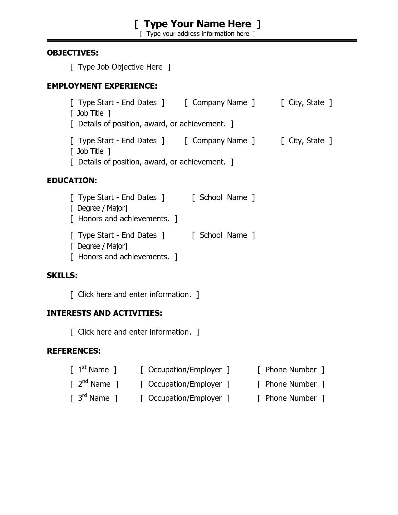 Simple Resume Template Sample Resumecareer