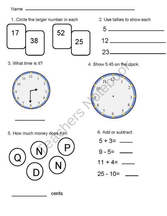 Everyday Mathematics Assessment for First Grade from