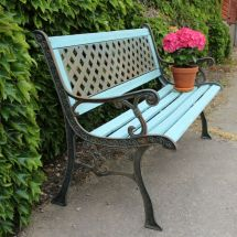 Wrought Iron Painted Garden Bench Ruby Rhino Uk