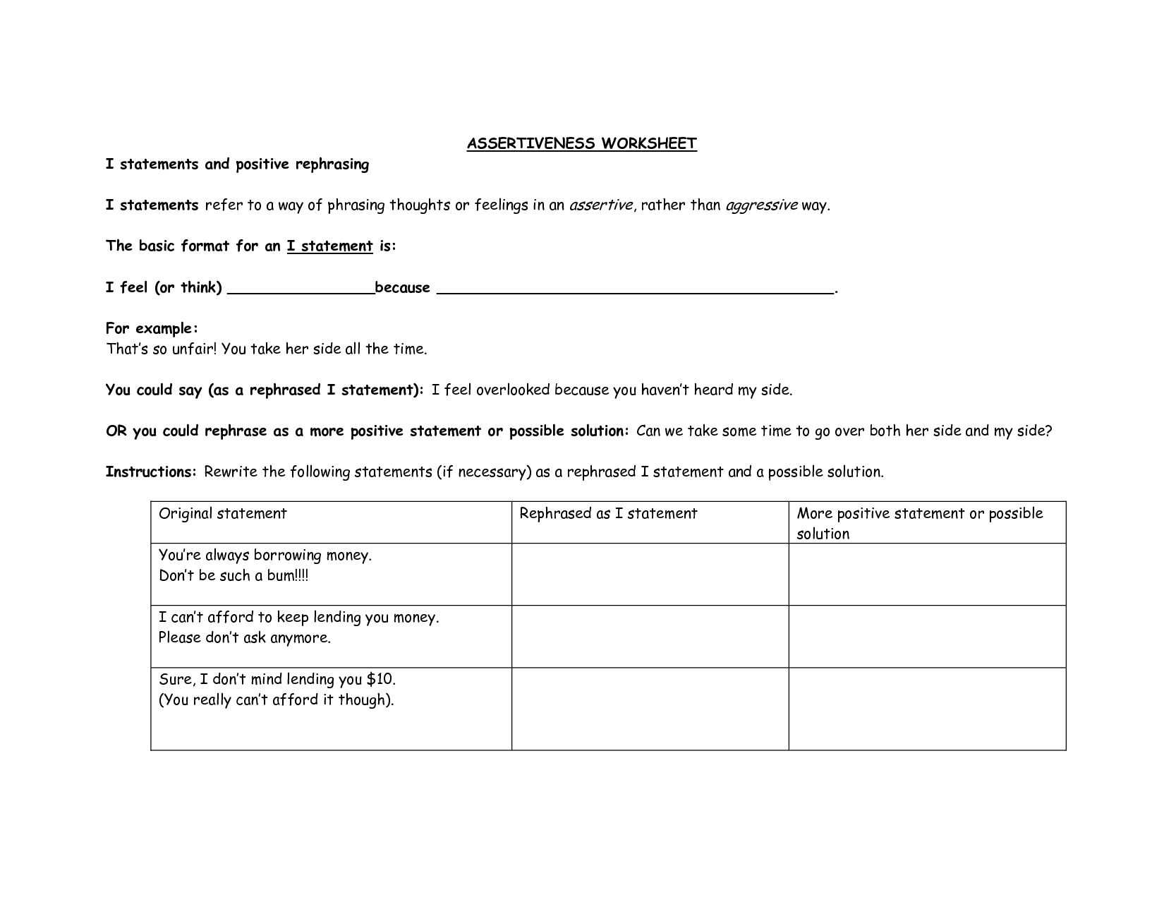 I Statements Worksheet