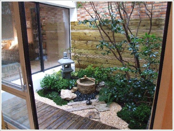 Japanese Style Garden Interior Design With Small Pond Home