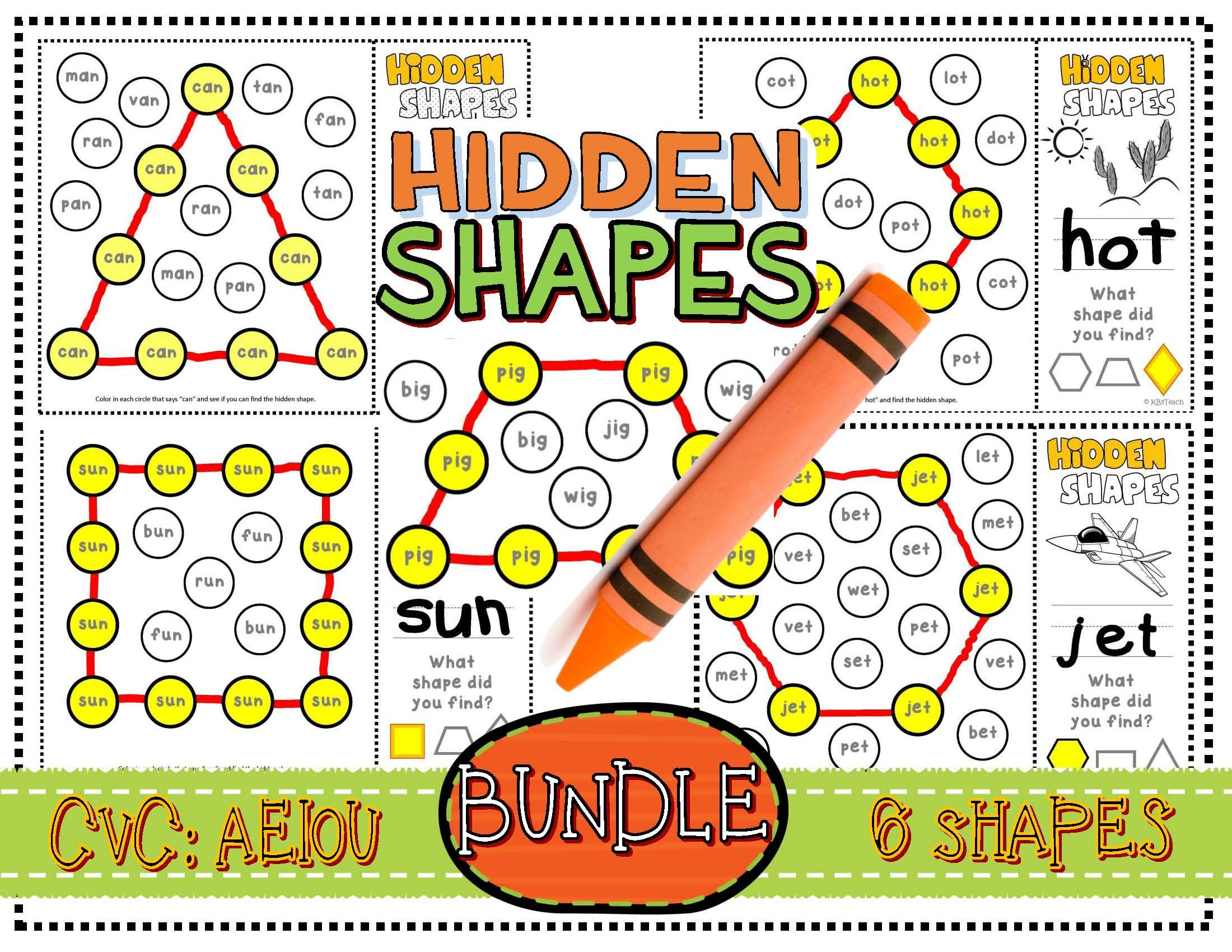 Shapes Cvc Mystery Shapes Bundle Phonics Geometric Shapes
