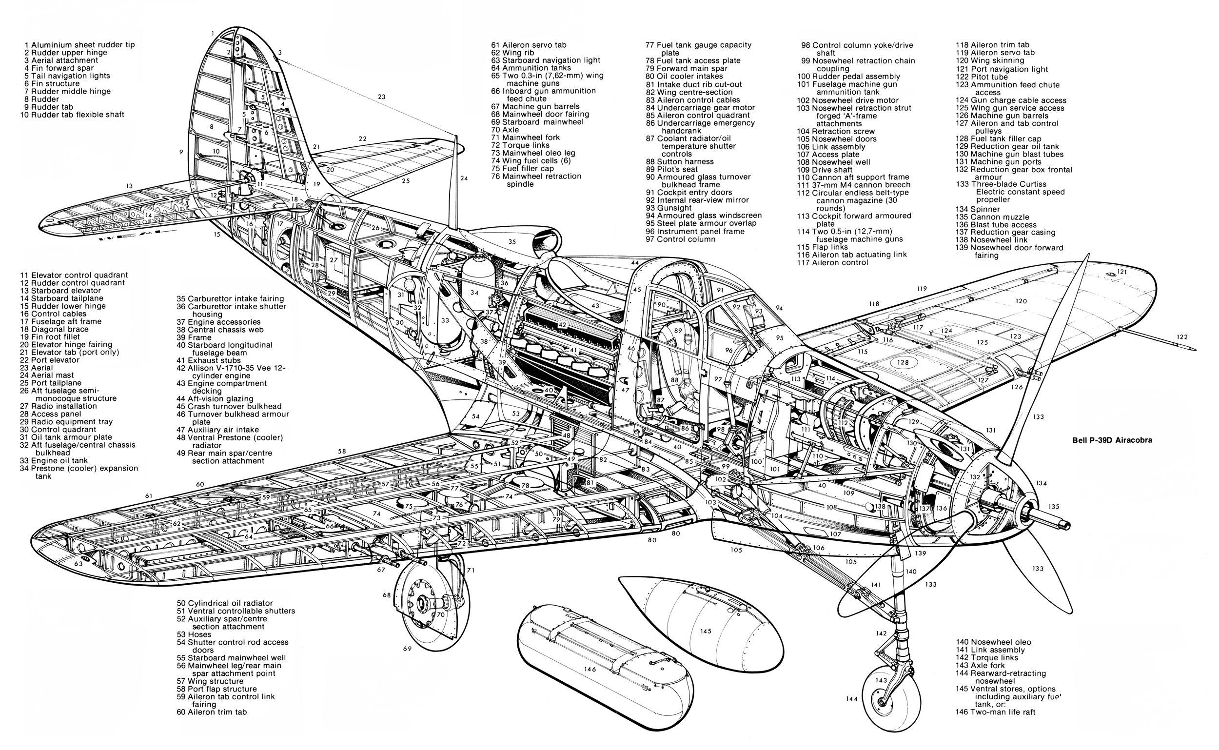 Bell P39 Aircobra Aircraft Cutaway