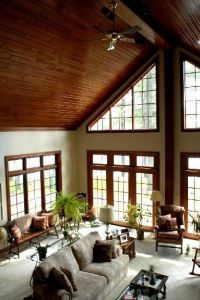 love everything about this room.. cathedral ceilings, the ...
