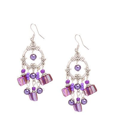 Loving This Purple Mother Of Pearl Crystal Chandelier Earrings On Zulily