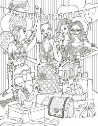 Fashion coloring page | Fashion Coloring Pages for Adults ...