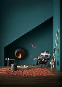 Wanfarben ideas dark green wall color orange carpet modern ...