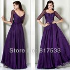 Plus Size Purple Prom Dress with Sleeves