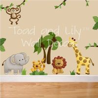 Fabric WALL DECALS Jungle Animal Safari Girls Boys Bedroom