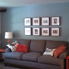 Ethan Allen Living Room Ideas Home Theater Gray Room, Blue Wall, Sofa, Orange Accent ...