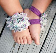 Baby Barefoot Sandals.purple Floral Flower.toddler