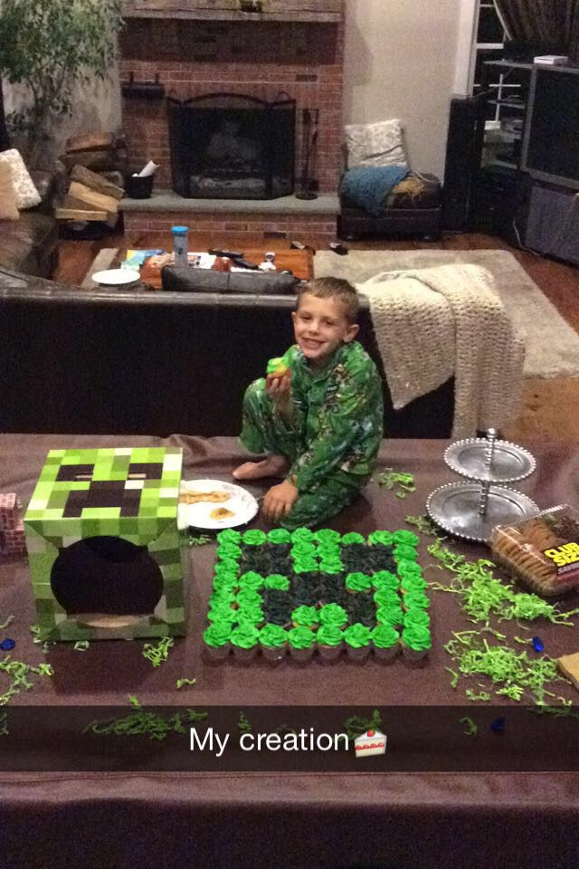 Minecraft Creeper Cupcake Cake Super Easy And Great For A