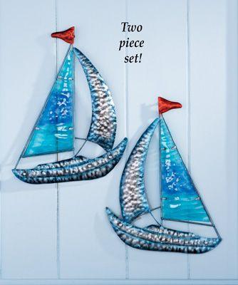 Metal sailboat wall art set of also beach inspirations pinterest rh
