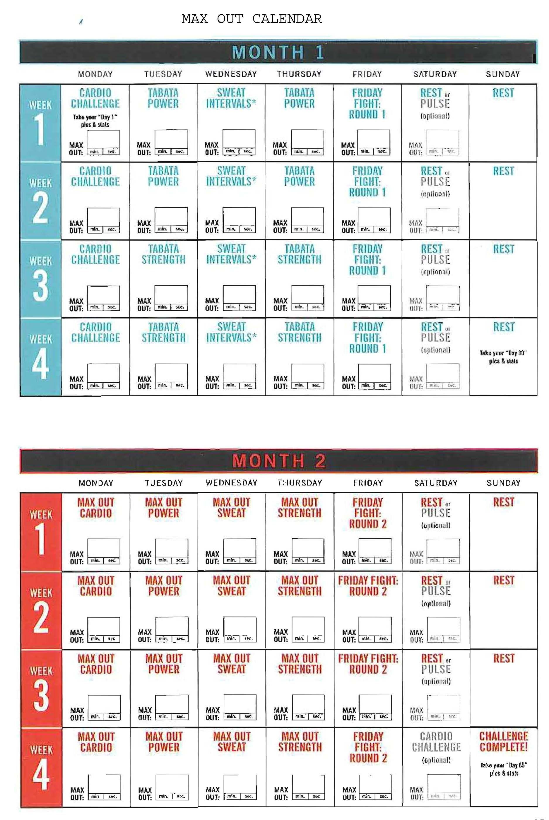 Insanity Max 30 Ab Maximizer Workout Calendar