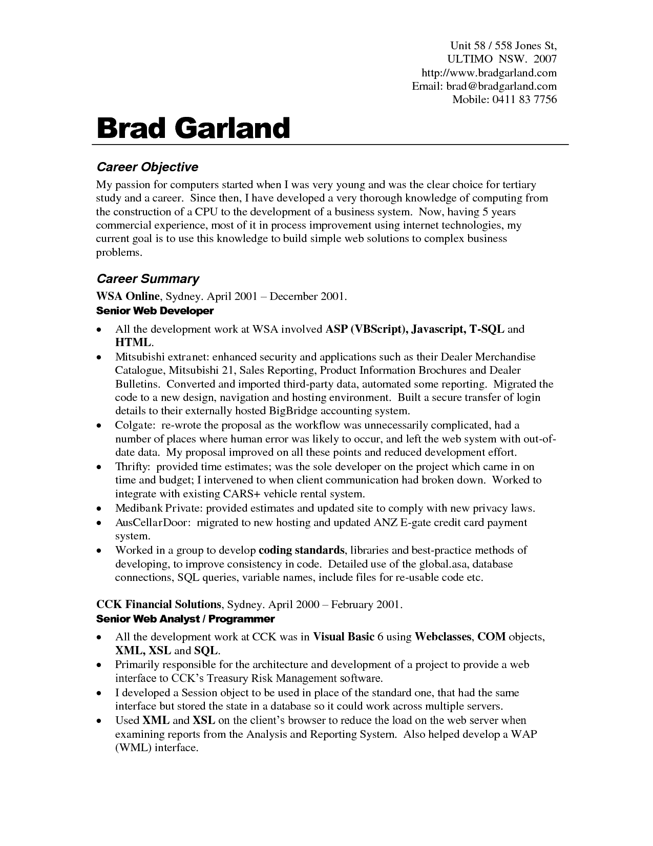 Resume Work Objective Examples - Examples of Resumes