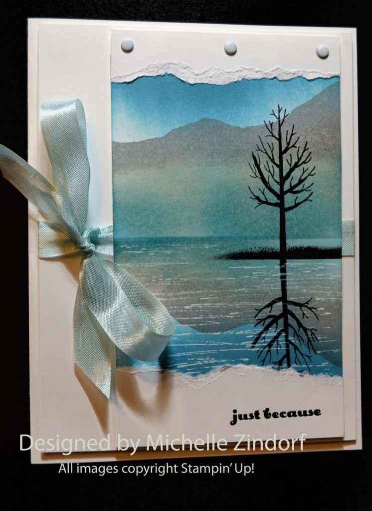 Tree Amp Mountain Reflection Stampin Up Card Created By