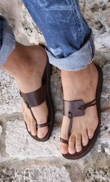 Men Wearing Leather Sandals