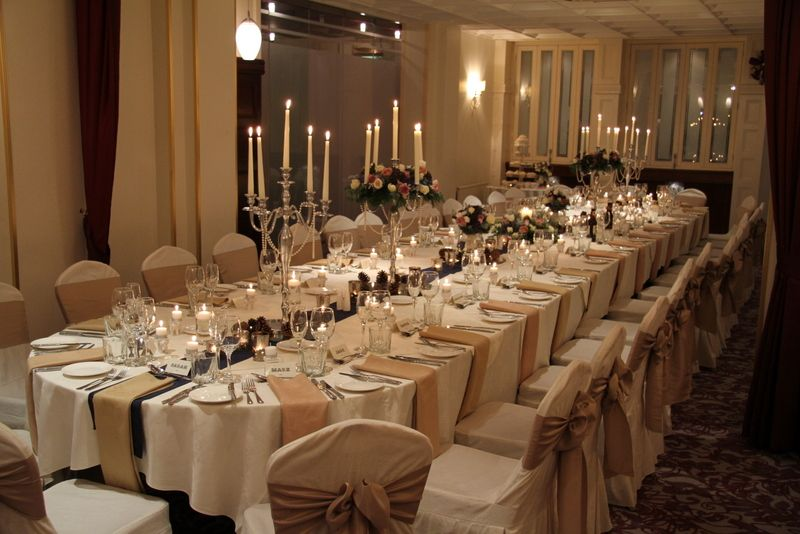 Long Table For Around 30 Guests With Regency Candelabra