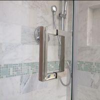 Square back to back frameless shower door handle ...