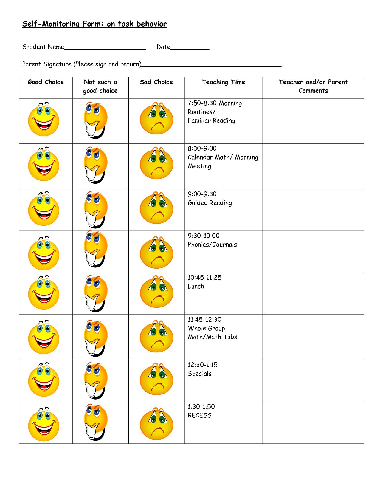 Free Behavior Worksheets