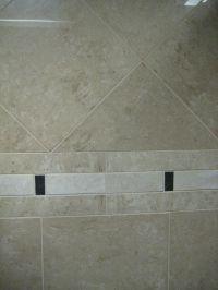 Travertine shower tiles with simple border   Bathroom ...