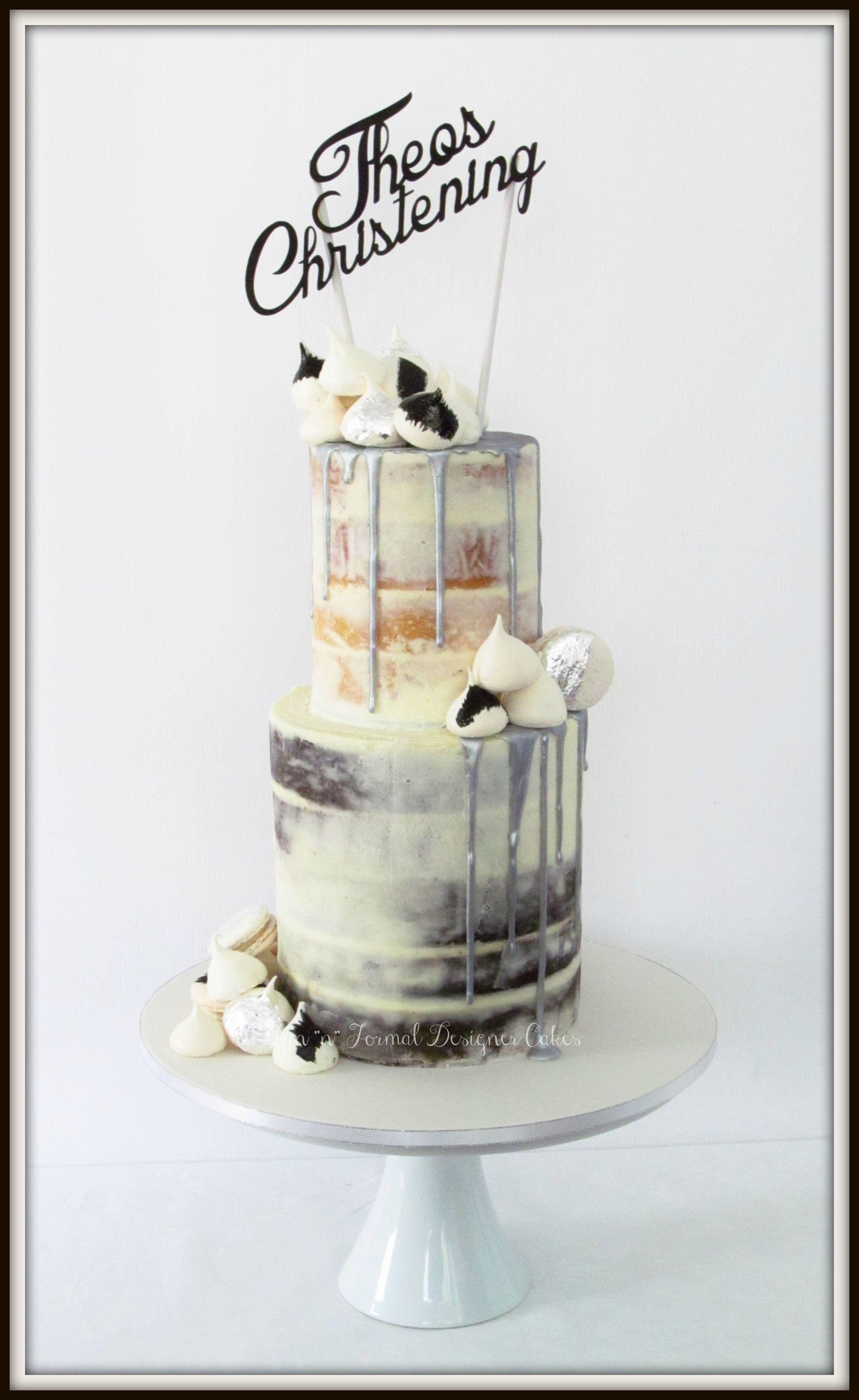 Semi Naked Silver Drip Christening Cake