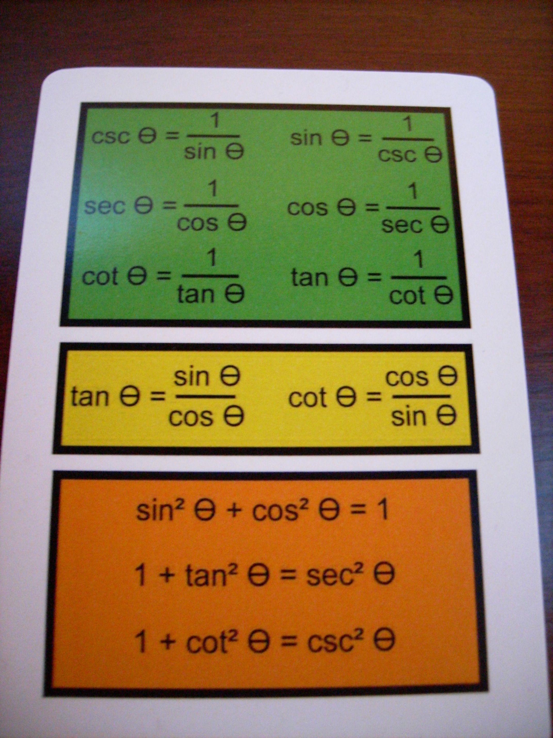 Trigonometry Study Flash Cards