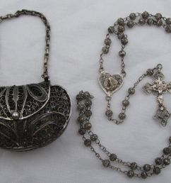 super htf antique solid 800 sterling fatima filigree rosary purse case  [ 1464 x 1116 Pixel ]