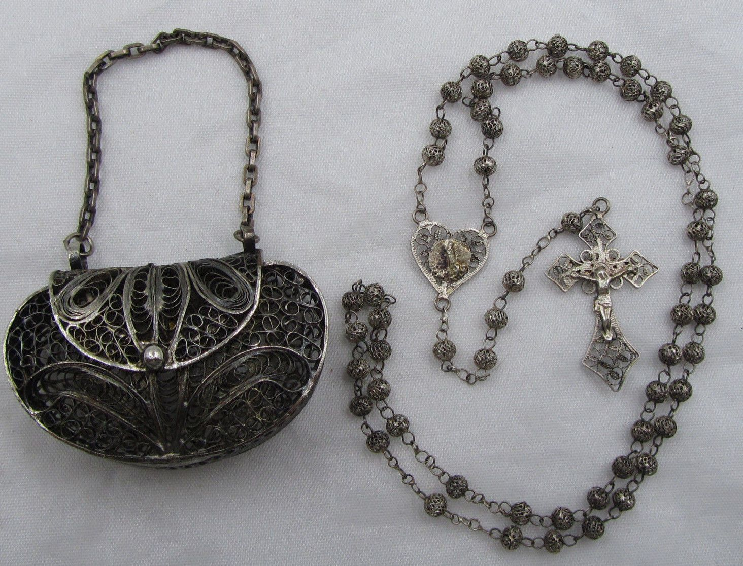 hight resolution of super htf antique solid 800 sterling fatima filigree rosary purse case