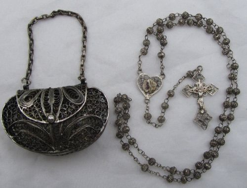 small resolution of super htf antique solid 800 sterling fatima filigree rosary purse case