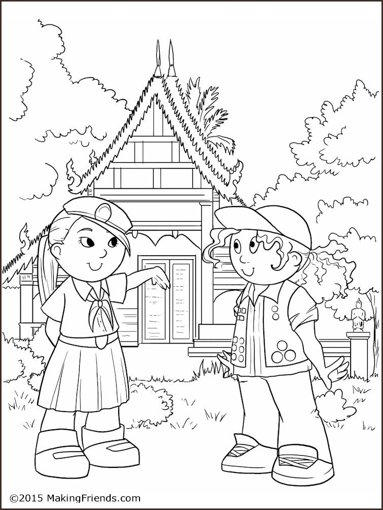 Thailand Girl Guide Coloring Page. A fun free printable