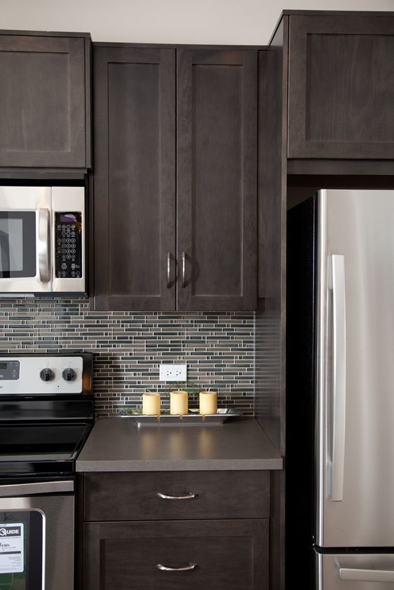 espresso shaker kitchen cabinets cabinet showrooms brown maple shaker-style cabinets, stainless steel ...