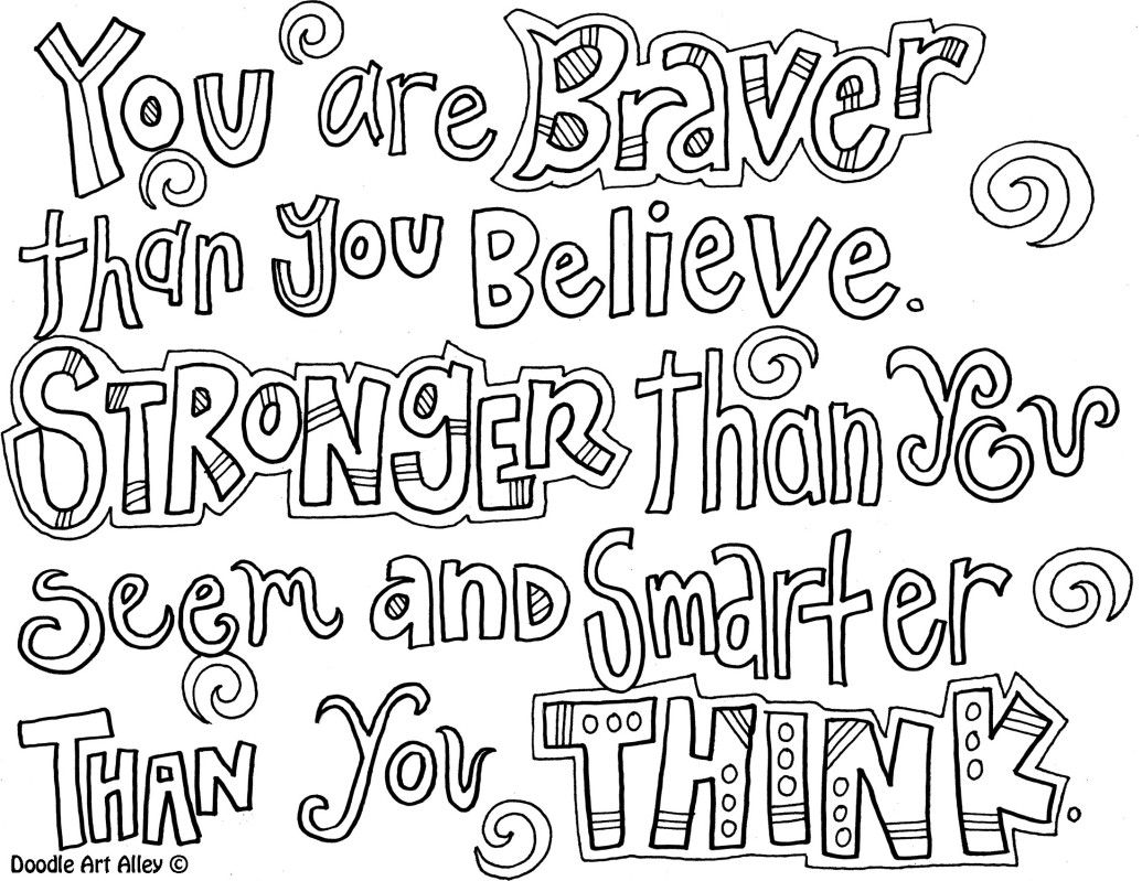 You Are Braver Than You Believe Coloring Page Art