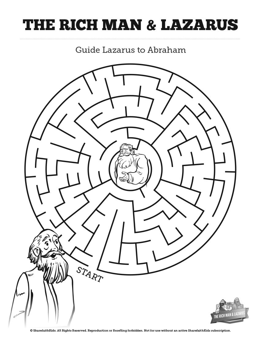Luke 16 Lazarus and the Rich Man Bible Mazes: Can your