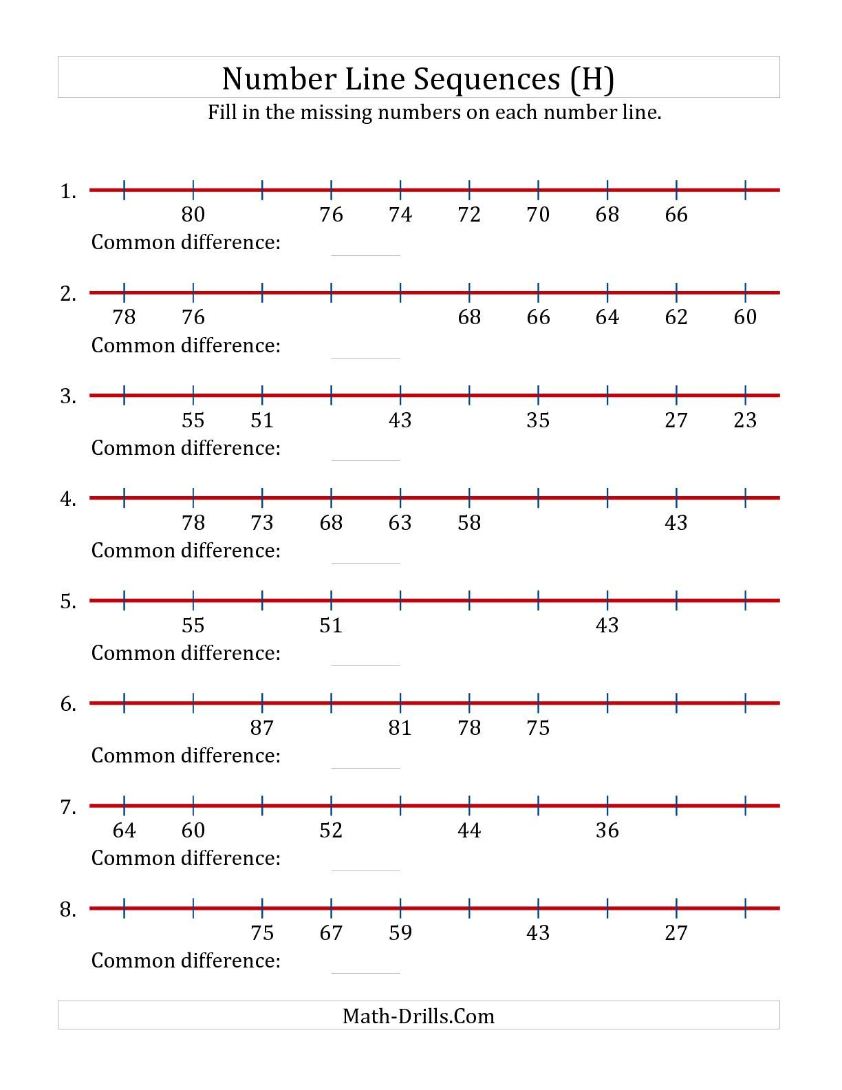 Decreasing Number Line Sequences With Missing Numbers Max 100 H Math Worksheet Freemath