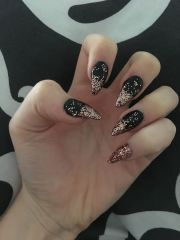 black and rose gold stiletto nails