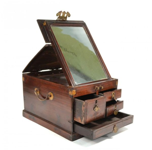 Antique 19th Oriental Chinese Lady Mirror Lap Vanity