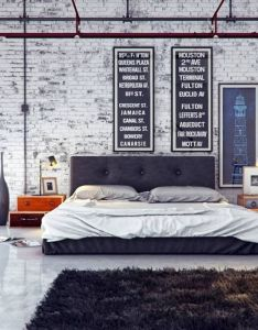 Interior industrial design mix to modern dazzling bedroom with white brick wall and dark brown fur rug ideas also creative pinterest rh
