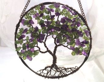 Peridot Lilac Tree Wire Tree Of Life Wall Hanging Sun Catcher In