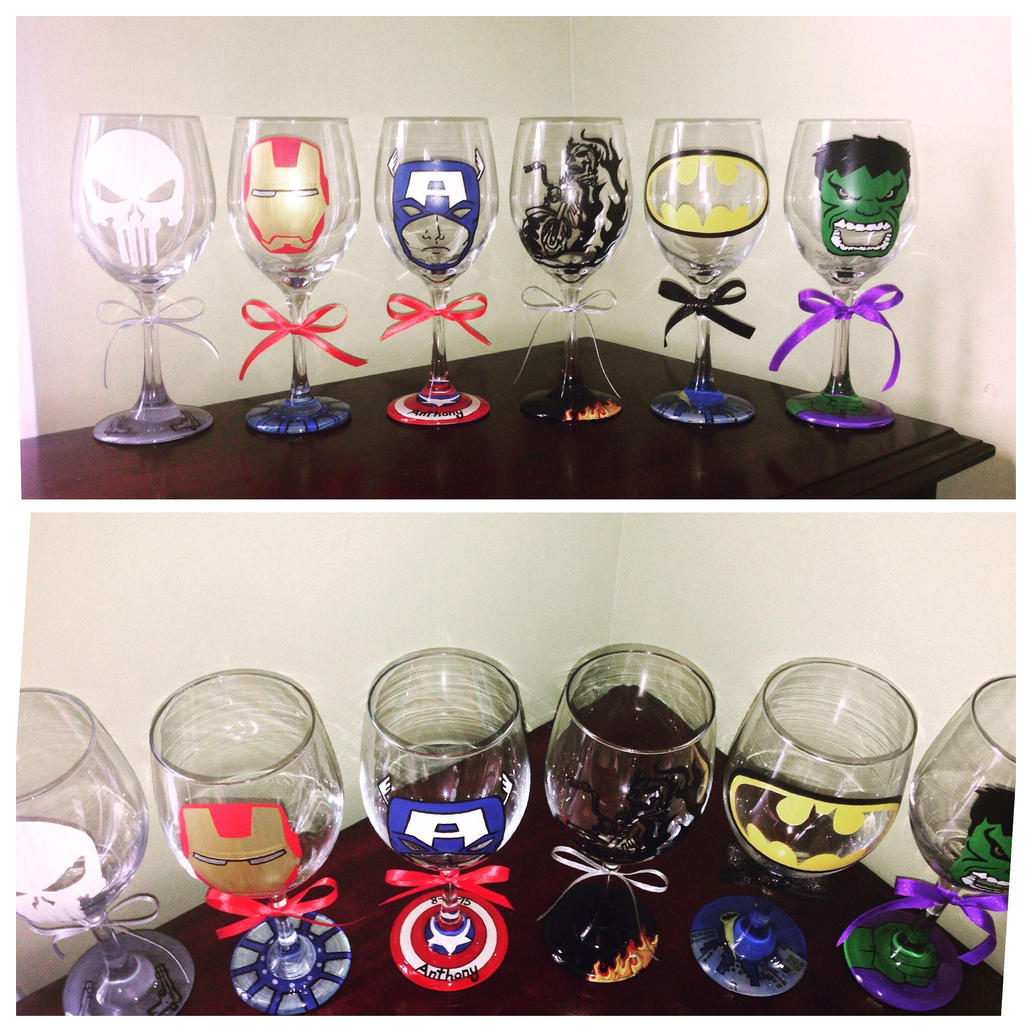 Hand painted Superhero wine glasses Marvel The Punisher