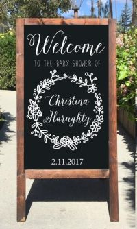 Welcome Baby Shower Chalkboard Sign Rustic Baby Shower