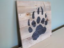 Bear Paw Print Grizzly Black Brown Reclaimed Pallet Wood