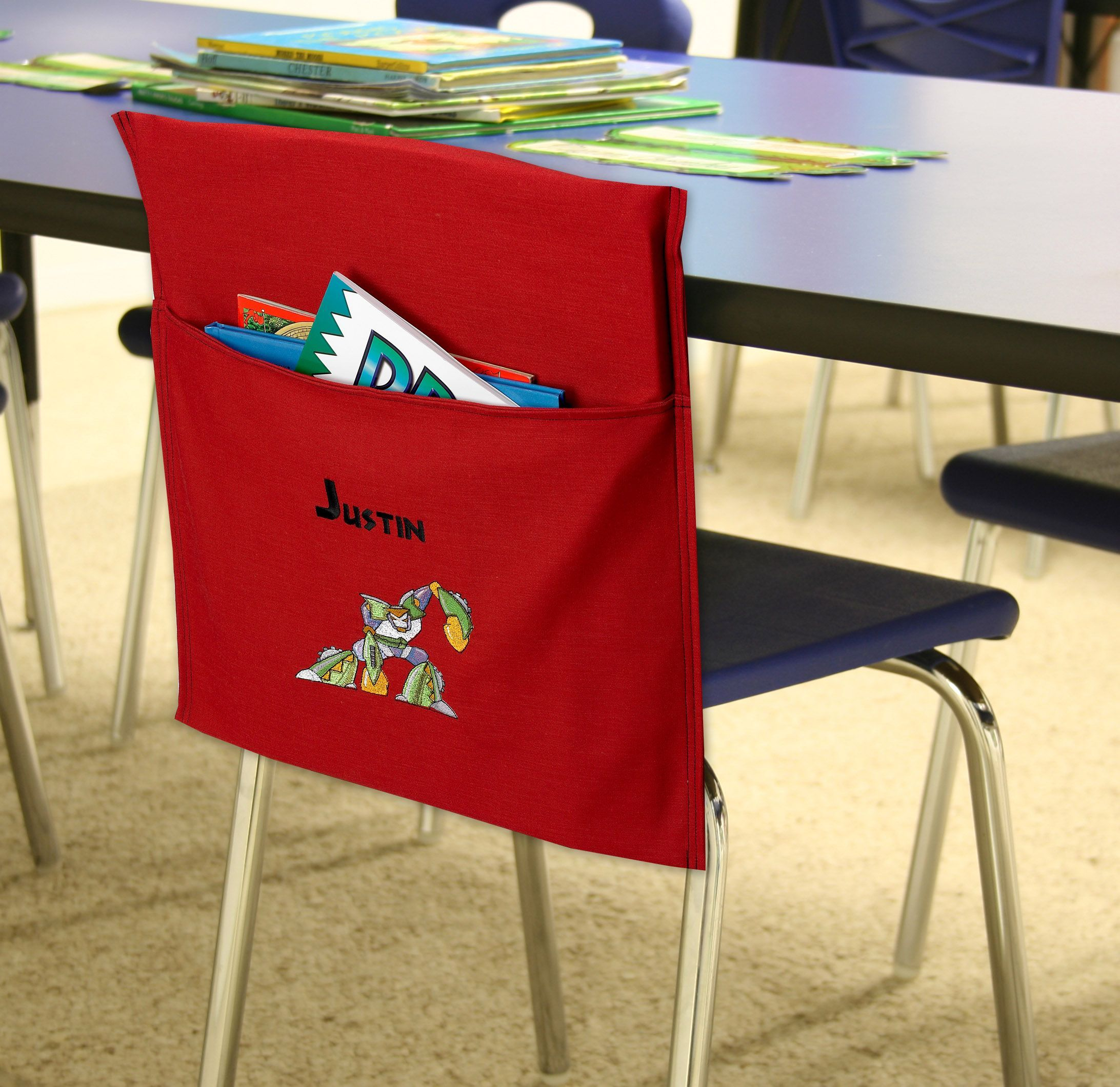 chair covers for kindergarten arm dining cover with pocket how handy and fun is this desk