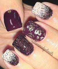 Gel nails fall leaves wine color foil   Gel manicure ...