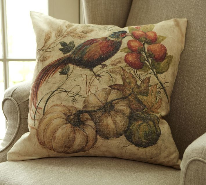 Pottery Barn Painted Pheasant Pillow Cover  With each