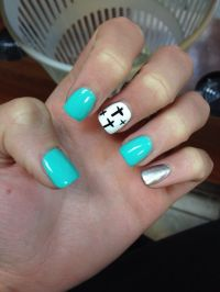 Acrylic nails with a cross design | Nails | Pinterest ...